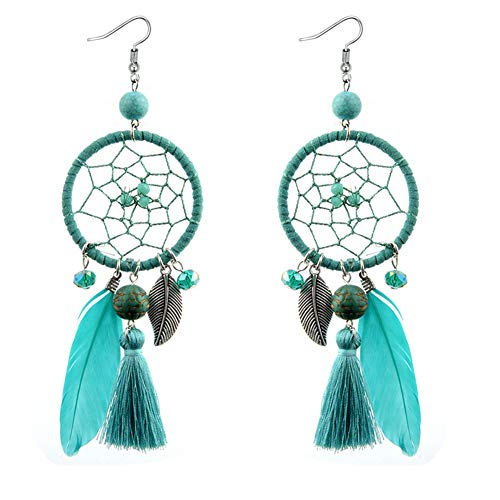 VONRU Boho Feather TasselEarrings - Big Feather Statement Earrings for Women - Indian Long Dangle Earrings for Girl Daughter Sister Idea Gift for Holiday Party (Blue Dreamcatcher Earrings) -