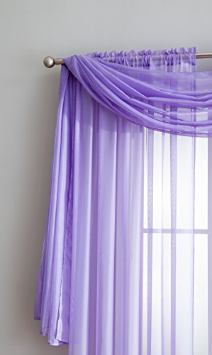 Sheer Window Scarf Fabric Sheer Voile curtain for Window Treatment - Add to Window Curtains for Enhanced Effect (56'x144', Lilac)