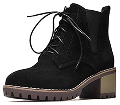 Aisun Womens Casual Comfy Lace Up Round Toe Booties Mid Stacked Heel Ankle High Boots Black 7bd0wxY