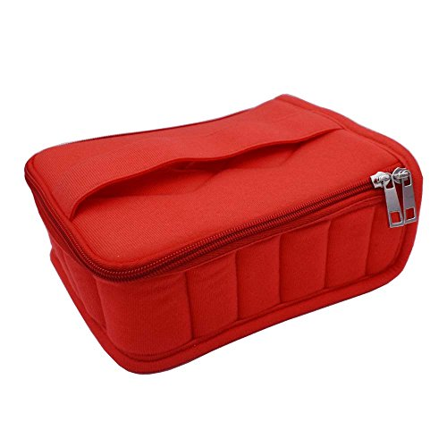 ntial Oil Carrying Case Holds for 5ml/10ml/15ml Travel or Home Storage Bag with Handle Alloy Zipper Thick Foam (Red) ()
