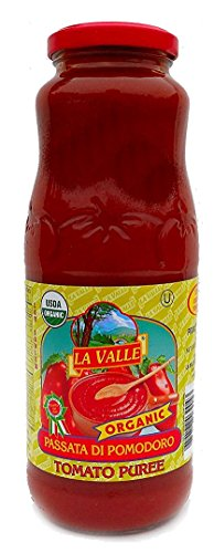 La Valle (12 pack) Tomato Puree Organic 24oz Jars from Italy With Basil - Kosher