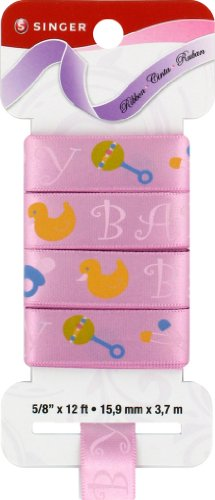 - SINGER Satin Ribbon, 5/8-Inch 12-Feet, Shack Rattle Roll Print, Pink Bubble Gum