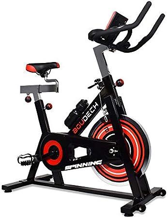 Bicicleta de spinning profesional con volante de 18 kg, pedales ergonómicos y pantalla LCD.: Amazon.es: Deportes y aire libre
