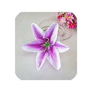 10Pcs 13CM Real Touch Artificial Lily Silk Flower Heads Decorative,Light Purple 103