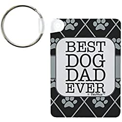 ThisWear Dog Lover Gifts for Men Best Dog Dad Ever Dog Paw Prints Dog Keychain Aluminum Rectangle Keychain