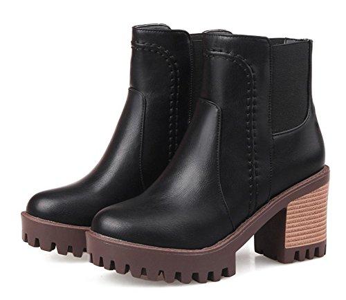 Aisun Femmes Plate-forme De Mode Empilés Talons Hauts Robe Slip Sur Hauts Hauts Bout Rond Bottes Courtes Chaussures Noir