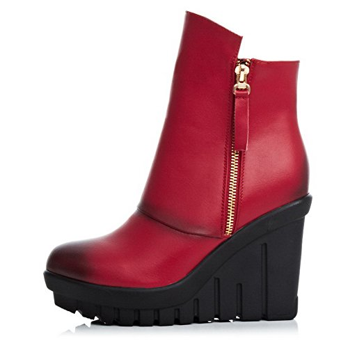 AmoonyFashion Womens Round Toe Closed Toe High Heels Boots With Platform and Slipping Sole Red vaQuSD9tIY