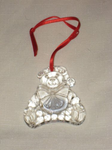 Vintage Gorham Crystal Christmas Bear Tree Ornament 2 x 2 1/2 Inches - Made In Germany