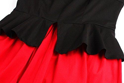 VKStar - Vestido - trapecio - Básico - Manga Larga - para mujer Rojo