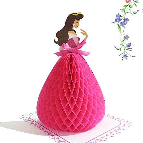 OUOK 3D Snow White Cinderella Princess Greeting Card Children Birthday Wedding Party Blessing Card Invitations Valentine's Day Decors,Aurora
