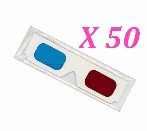 O'Plaza ® Disposable 50 X Paper Red/cyan Lenses 3d Glasses Direct-clip on 3d Glasses for 3d Movies, Dvd's and Gaming- White Paper - Eyewear Plaza