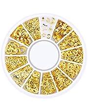 200 Count/Pack 3D Mini Nail Art Stick Stickers Glitter Metalen Charmante Nagelbenodigdheden Modieuze DIY Nails Schoonheidsdecoratie Star & Moon SeriesMetal Patch