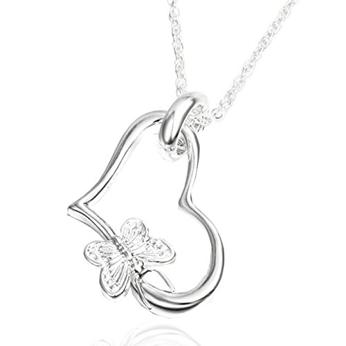 sephla 925 Sterling Silver Plated Love Heart and Butterfly Pendant Necklace for Women,18 inch Cable Chain by sephla