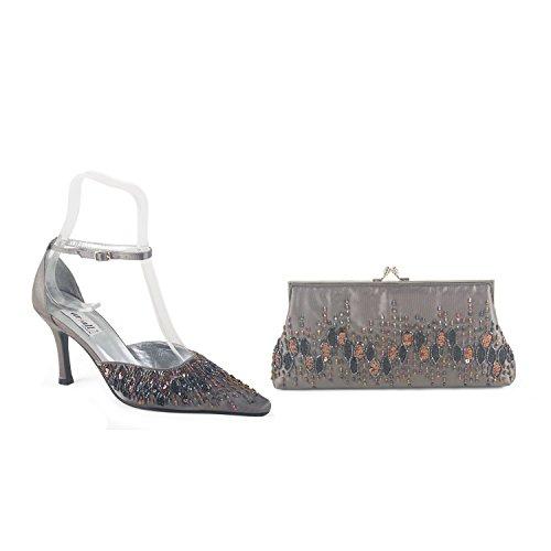 FARFALLA Sequin Embellishment Matching Shoes & Bag (Dark Grey, 4UK - 37EU)