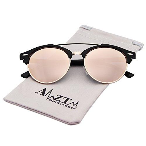 AMZTM Double Bridge Semi-Rimless Retro Polarized Reflective Round Wayfarer Sunglasses (Black Frame Pink Lens, - Round Sunglasses Semi