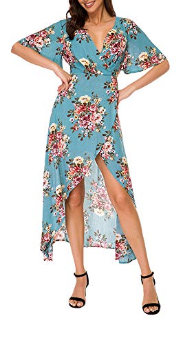TOP-MAX Women's Dresses -Summer V Neck Floral Split High Low Prom Party Beach Casual Wedding Guest Flowy Long Maxi Dress