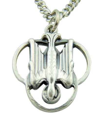Silver Toned Base Descending Trinity Holy Spirit Dove Medal, 1 (Holy Trinity Medal)