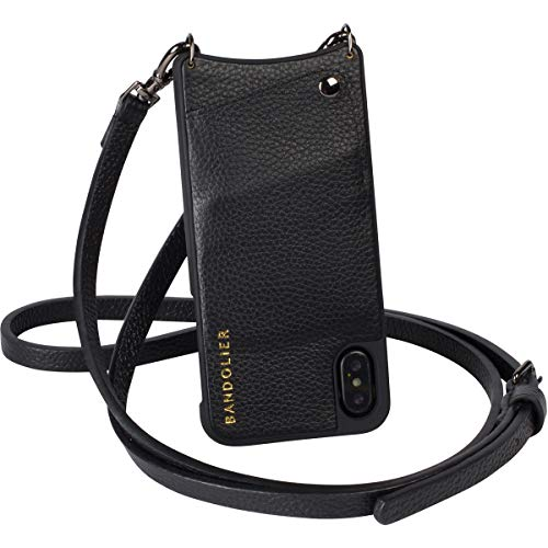 Bandolier [Emma] Crossbody Phone Case and Wallet - Compatible with iPhone 8, 7, 6 - Black Pebble Leather with Pewter Detail ()