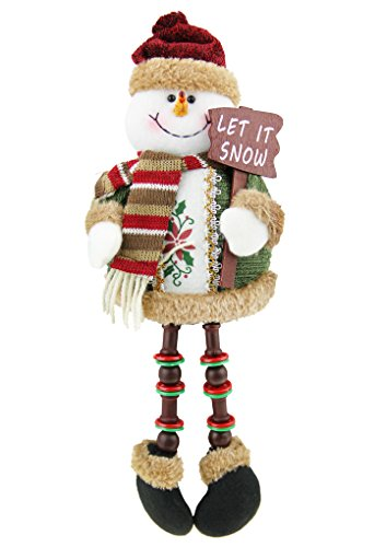 (Christmas Holiday Decor Plush Shelf Sitter Sitting Snowman Santa Claus Gift Cute Doll Toy Craft for Kids )