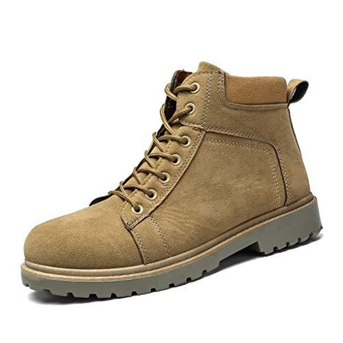 (Giles Jones Motorcycle Boots for Men Autumn Winter Retro Wear Resistant Combat Boots)