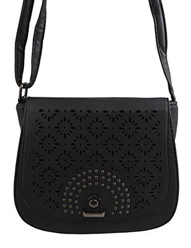 Studded Vegan Leather Saddle Bag Boho Crossbody Purse Bohemian Handbag - Tori And Burch