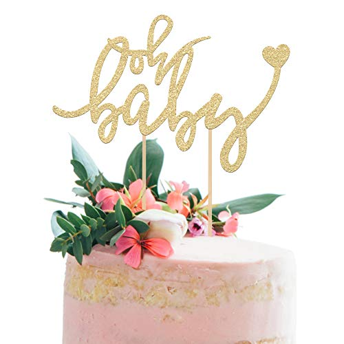 """Price comparison product image Baby Shower Cake Topper -""""OH BABY"""" - 6.5"""" x 4"""" Double Sided Gold Glitter Cardstock Topper For Baby Showers and Gender Reveal Parties Perfect for Both Boys and Girls - Food-Safe & Echo Friendly Stand"""