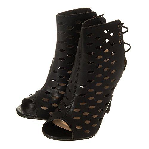 Ladies Womens High Stiletto Heel Cut Out Shoe Boot 6 BLACK PU D5eIyb