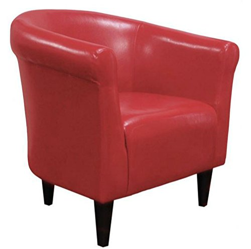 Zipcode Contemporary Club Chair – Faux Leather Barrel Seat is a Perfect Addition to Your Living Room or Bedroom – This Accent Furniture Is Also Made of Wood Red