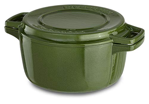 KitchenAid KCPI40CRIG Professional Cast Iron 4-Quart Casserole Cookware - Ivy Green