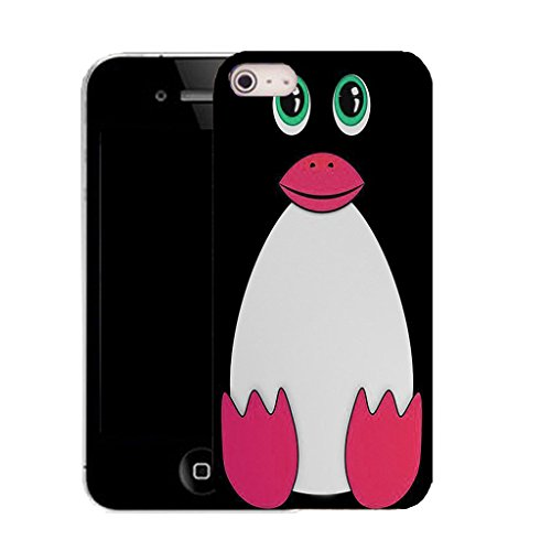 Mobile Case Mate IPhone 4s clip on Silicone Coque couverture case cover Pare-chocs + STYLET - black pingu pattern (SILICON)
