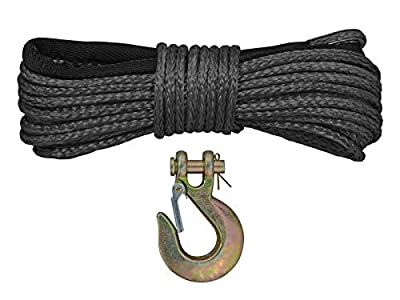 SuperATV Synthetic Winch Rope Replacement 50 ft. with Hook - 5000 lbs.