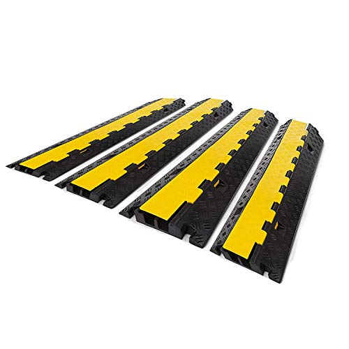 BestEquip 4 Pack Rubber Cable Protector Ramp 2 Channel Heavy Duty 66,000LB Load Capacity Cable Wire Cord Cover Ramp Speed Bump Driveway Hose Cable Ramp Protective Cover