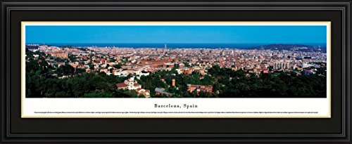 Barcelona, Spain - Blakeway Panoramas Skyline Posters with Deluxe Frame by Blakeway Worldwide Panoramas