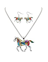 "Fashion Colorful Enameled Horse Pendant Necklace and Earrings Set with 20"" Chain Necklace Jewelry Gifts (Silver)"