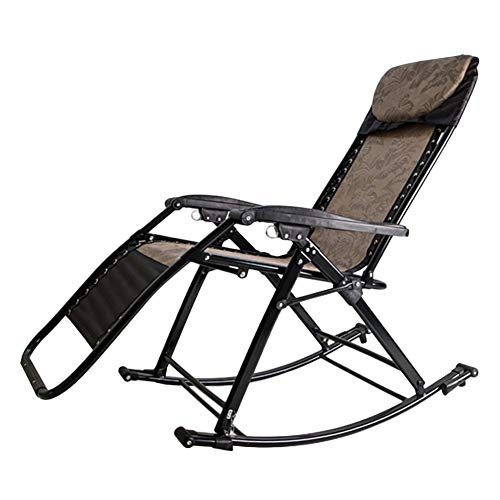 Recliners Outdoor Adult Rocker, Portable & Folding Rocking Chair, Heavy Duty for Outdoor Patio Garden Deck Zero Gravity Chair, Support 200kg (Color : Brown) ()