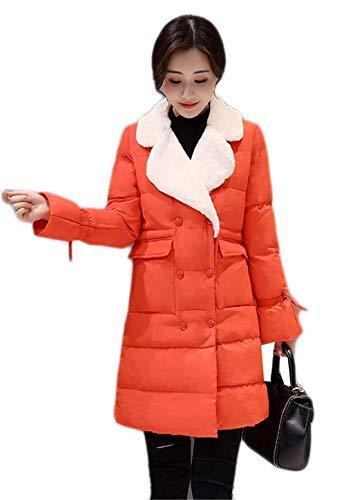 Veste Hiver Orange Manches Jolie Aveugle Confortable Poches Manteau Chauds Longues Devant Revers Doudounes Femmes À Manteaux x077qF