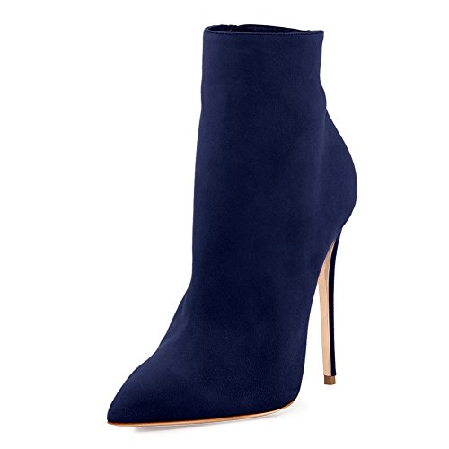 onlymaker Women's Pointed Toe High Heels Ankle Boots Side Zipper Dress High Heels Pom Pom Booties Blue