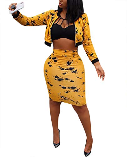 Jacket Top Skirt Pants - Womens Casual Long Sleeve Zip up Sweatshirt Jacket Crop Tops High Waisted Midi Skirts Set Two Piece Outfit with Zipper Yellow