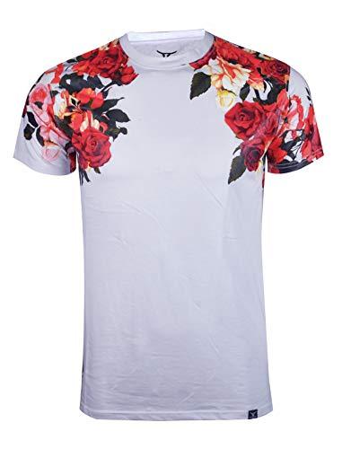 SCREENSHOTBRAND-S11857 Mens Hipster Hip-Hop Premium Tees - Stylish Longline Fashion T-Shirt Flower Print Pattern-White-Medium -