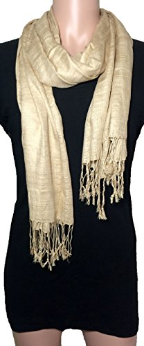 100% Natural Pure Silk Scarf, Solid Color Plain Scarves Soft Winter, Khaki