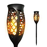 Petrala Solar Torch Lights Outdoor 3 Modes Flickering Flames Decorative Long Lasting Warm Landscape Lighting for Wedding Decoration, 2 Pack