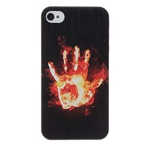 TY-Mano un estuche duro pc patrón fuego con protección interior mate para el iphone 4/4s