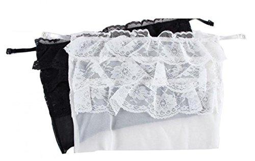 WODISON La escisión del cordón de la flor de las mujeres de la cubierta modestia Panel Blanco Negro (Pack de 2) estilo lobulado