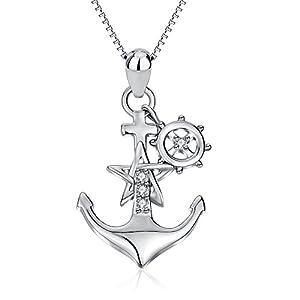 YFN 925 Sterling Silver Ship Anchor Pendant Necklace