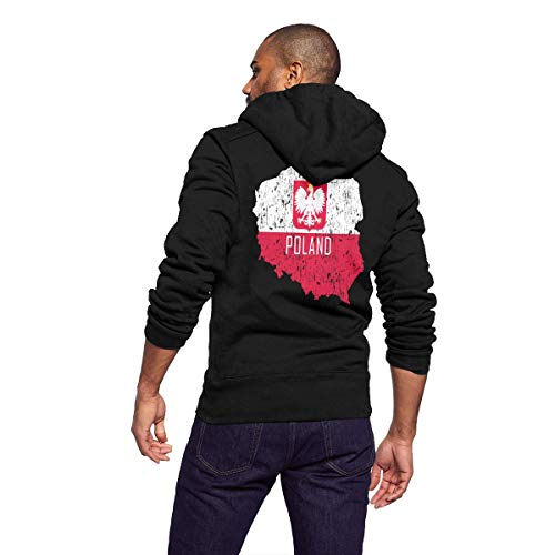 Sportswear Full Zip Up Club Fleece Hoodie Midweight Zip Front Hooded Sweatshirt Jacket for Men Man - Poland Map Polish Flag -