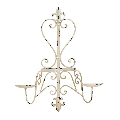 (Candle Sconces Wall, Antiqued Fleur De Lis Decorative Wall Sconce Candle Holder)