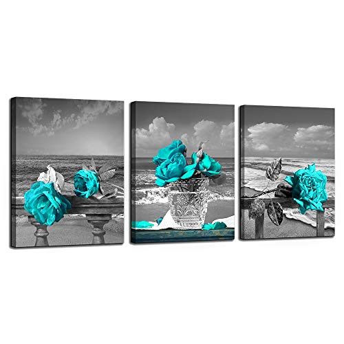 Canvas Wall Art for Living Room Simple Life Black and White Rose Flowers Blue Canvas Wall Art Decor 3 Panel Framed Wall Art for Bedroom Ready to Hang for Home Decoration