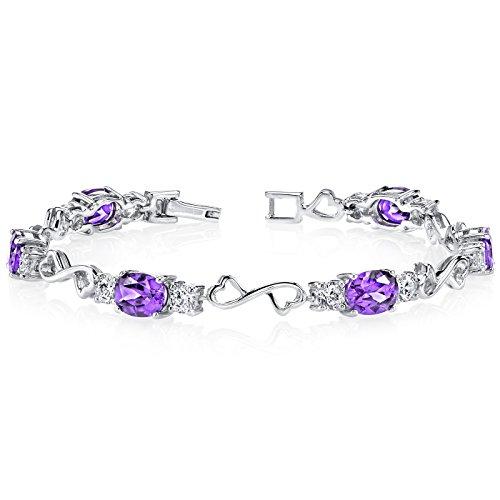 Amethyst Bracelet Sterling Silver Oval Shape 6.00 Carats