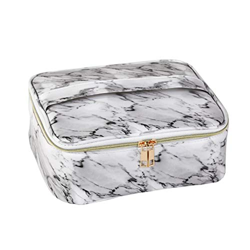 HOYOFO Makeup Bag Organizer Case Travel Cosmetic Case Portable with Removable Dividers for Men and Women, Grey-white