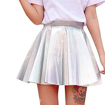 NPRADLA Falda holográfica para Mujer Cintura Alta, Piel sintética ...